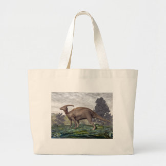 Parasaurolophus dinosaur among gingko trees large tote bag