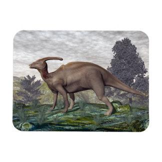 Parasaurolophus dinosaur among gingko trees magnet