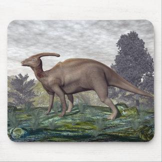 Parasaurolophus dinosaur among gingko trees mouse pad