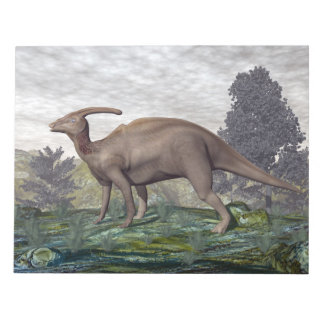 Parasaurolophus dinosaur among gingko trees notepad
