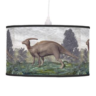 Parasaurolophus dinosaur among gingko trees pendant lamp