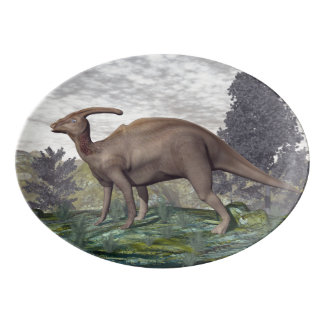 Parasaurolophus dinosaur among gingko trees porcelain serving platter