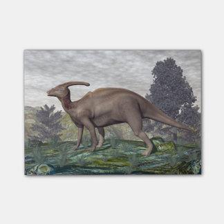 Parasaurolophus dinosaur among gingko trees post-it notes