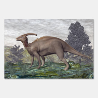 Parasaurolophus dinosaur among gingko trees sign