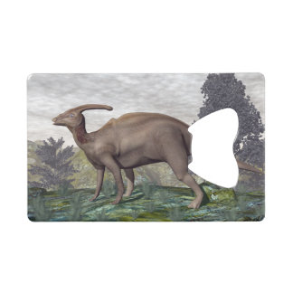 Parasaurolophus dinosaur among gingko trees wallet bottle opener