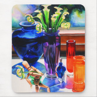 """""""Parasol"""" Whimsical Still Life Watercolor Mouse Pad"""