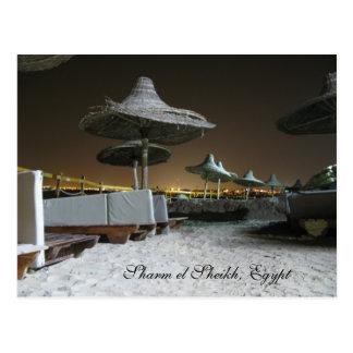 Parasols at Night in Sharm el Sheikh, Egypt Postcard