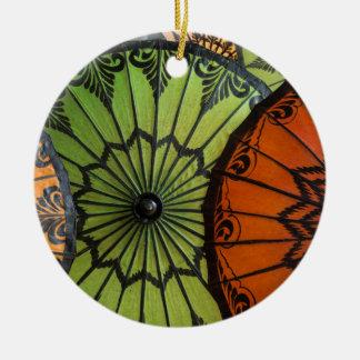 parasols for sale, bagan, myanmar round ceramic ornament