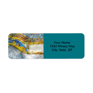Parc Guell Barcelona Spain Mosaic Lizard Return Address Label