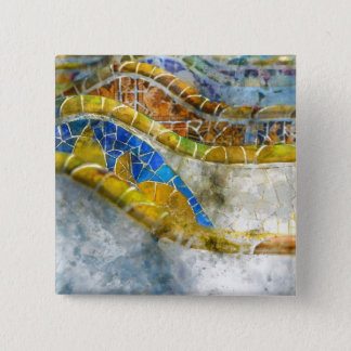 Parc Guell Bench Mosaics in Barcelona Spain 2 Inch Square Button