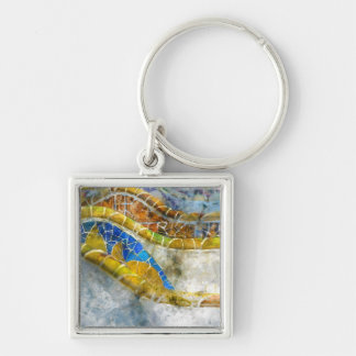 Parc Guell Bench Mosaics in Barcelona Spain Keychain