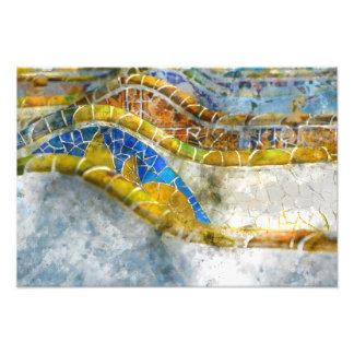 Parc Guell Bench Mosaics in Barcelona Spain Photo Print