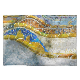 Parc Guell Bench Mosaics in Barcelona Spain Placemat