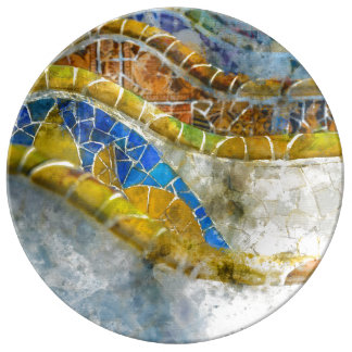 Parc Guell Bench Mosaics in Barcelona Spain Plate