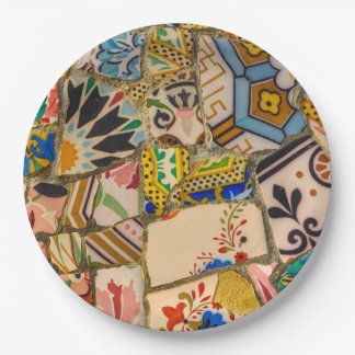 Parc Guell Ceramic Tile in Barcelona Spain 9 Inch Paper Plate