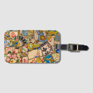 Parc Guell Ceramic Tile in Barcelona Spain Luggage Tag