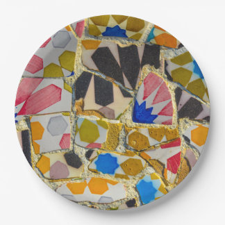 Parc Guell Ceramic Tiles in Barcelona Spain 9 Inch Paper Plate