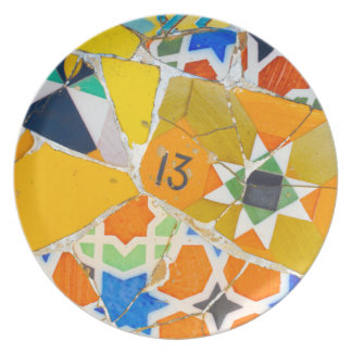 Parc Guell Ceramic Tiles in Barcelona Spain Party Plate