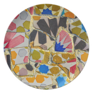 Parc Guell Ceramic Tiles in Barcelona Spain Party Plates