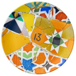 Parc Guell Ceramic Tiles in Barcelona Spain Porcelain Plates