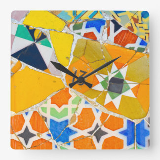 Parc Guell Ceramic Tiles in Barcelona Spain Square Wall Clock