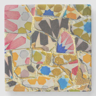 Parc Guell Ceramic Tiles in Barcelona Spain Stone Coaster