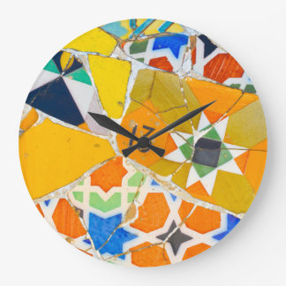 Parc Guell Ceramic Tiles in Barcelona Spain Wall Clock