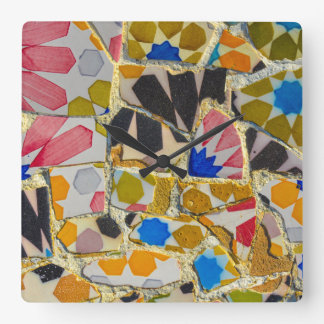 Parc Guell Ceramic Tiles in Barcelona Spain Wallclock