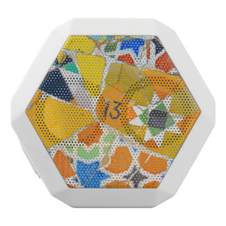 Parc Guell Ceramic Tiles in Barcelona Spain White Bluetooth Speaker