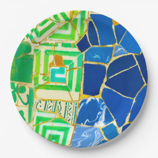 Parc Guell Green Tiles in Barcelona Spain 9 Inch Paper Plate