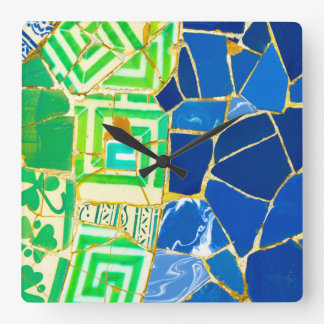 Parc Guell Green Tiles in Barcelona Spain Clocks