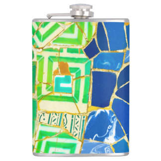Parc Guell Green Tiles in Barcelona Spain Hip Flask