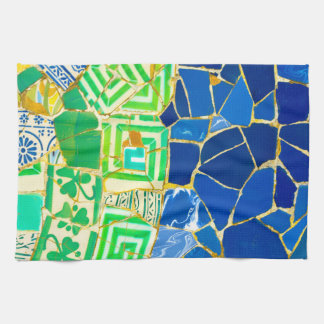 Parc Guell Green Tiles in Barcelona Spain Kitchen Towel