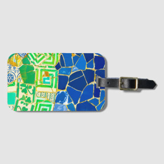 Parc Guell Green Tiles in Barcelona Spain Luggage Tag