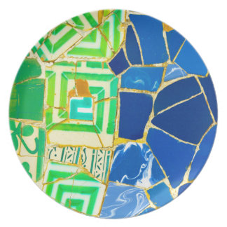 Parc Guell Green Tiles in Barcelona Spain Party Plate