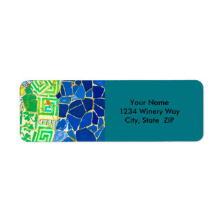 Parc Guell Green Tiles in Barcelona Spain Return Address Label