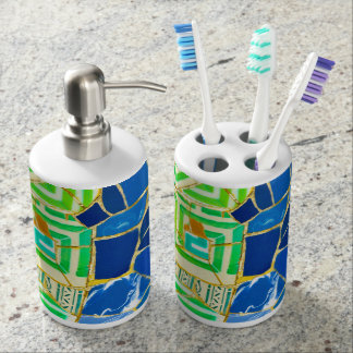 Parc Guell Green Tiles in Barcelona Spain Soap Dispensers