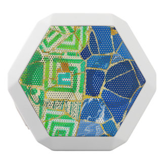 Parc Guell Green Tiles in Barcelona Spain White Bluetooth Speaker