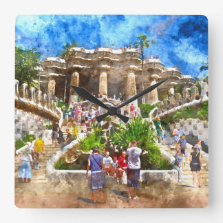 Parc Guell in Barcelona Spain Clock