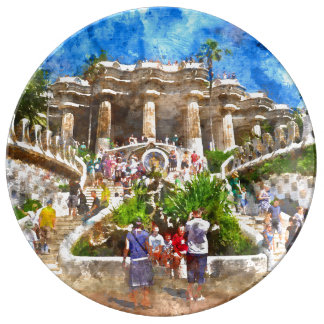 Parc Guell in Barcelona Spain Porcelain Plates