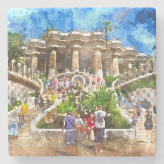 Parc Guell in Barcelona Spain Stone Coaster