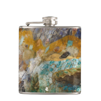 Parc Guell Lizard in Barcelona Spain Hip Flask