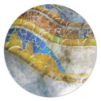 Parc Guell Mosaic Benches in Barcelona Spain Dinner Plates