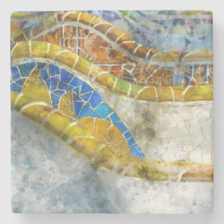 Parc Guell Mosaic Benches in Barcelona Spain Stone Coaster