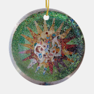 Parc Guell Mosaic Green Round Ceramic Ornament