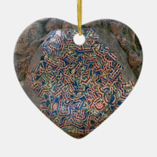 Parc Guell Mosaic Rainbow and Orange Heart Ceramic Ornament