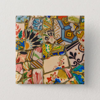 Parc Guell Tiles in Barcelona Spain 2 Inch Square Button