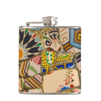 Parc Guell Tiles in Barcelona Spain Hip Flask