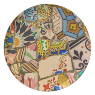 Parc Guell Tiles in Barcelona Spain Plate