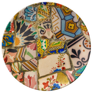 Parc Guell Tiles in Barcelona Spain Porcelain Plates